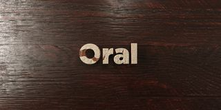 Oral - grungy wooden headline on Maple - 3D rendered royalty free stock image. This image can be used for an online website banner ad or a print postcard royalty free illustration
