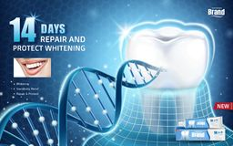 Oral health ads. Toothpaste product ad with tooth protected by invisible coat with glitter dna structure in 3d illustration stock illustration