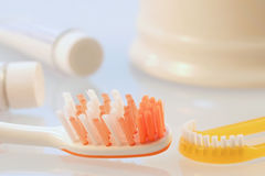 Oral hygiene. Different tools of oral hygiene in bathroom stock photography