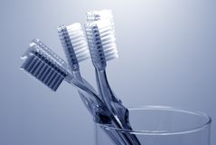 Oral Hygiene. Photo of Various Toothbrushes in a Glass - Oral Hygiene Stock Images