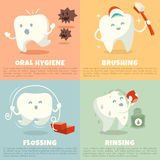 Oral hygiene banners with cute tooth. Brushing, flossing and rinsing stock illustration
