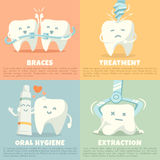 Oral hygiene banners with cute tooth Royalty Free Stock Photography