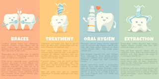 Oral hygiene banners with cute tooth Stock Photo