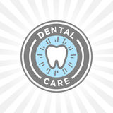 Oral hygiene dental care sign badge with healthy teeth icon. Stock Photos