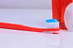Oral hygiene : toothbrush with mountwash and dental floss on white background Royalty Free Stock Images