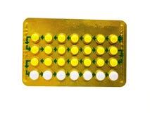 Oralnego antykoncepcyjny lek 21 żółta pigułka składali się Ethinyl estr obrazy stock