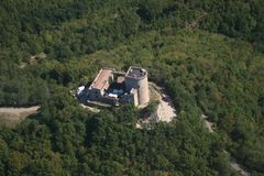 Oramala castle. Aerial view of the Oramala castle, located at north of Varzi Stock Images