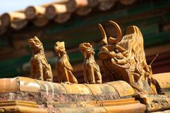 Oranate ceramic figures on the roof of the Forbidden City, Beiji Stock Images