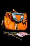 Orande women bag whit pockets. Royalty Free Stock Images