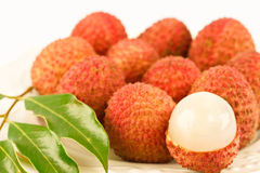 The orang Lychees or Litchi Chinensis sonn. Stock Image