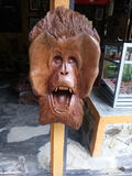 A orang Utan face carve. This is the orang utan face carved on wood. This engraving is in place souvenir sales located in an area attraction mace hills of North Royalty Free Stock Photo