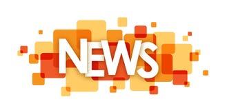 Orange Überschneidungsquadratfahne der NACHRICHTEN lizenzfreie abbildung