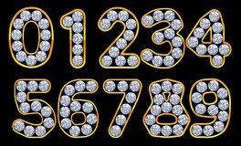 Orange 0 - 9 numerals incrusted with diamonds Royalty Free Stock Photo