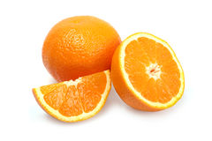Orange. Ripe orange on white background royalty free stock image