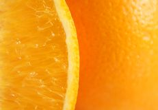 Orange. Fruit background with sliced royalty free stock photography