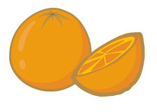 Orange. Cartoon orange on white background Royalty Free Stock Photo