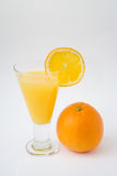 Orange. Fresh orange juice and orange on white isolated background Royalty Free Stock Image