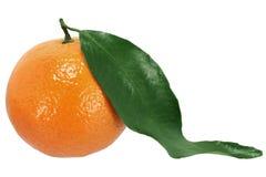 Orange. Ripe orange with leaf isolated in white stock photo