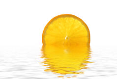 Orange. Slice on the water, isolated on white, large 15MP file with plenty of room for cropping and copy space Stock Photos