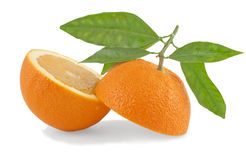 Orange. Cut with leaves on a white background Stock Image