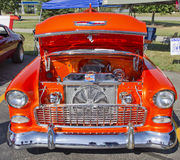 Orange 1957 Chevy Bel Air Engine Royalty Free Stock Photos