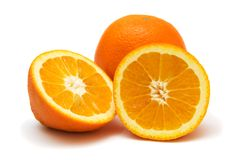 Orange 2. Two oranges on the white background royalty free stock images