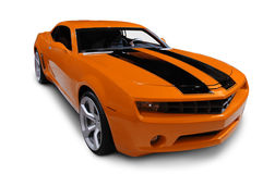 Orange 2009 Camaro. A new American Muscle Car on a white background. Clipping path on vehicle. See my portfolio for more vehicle images royalty free stock images