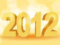 Orange 2012. 3d gold 2012 on an orange background vector illustration