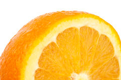 Orange. Fresh Orange with Dewdrops on White Background Royalty Free Stock Images