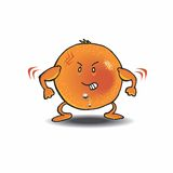 Orange. Healthy navel orange is showing his strength and flexing his muscles!  He even has a tribal tattoo and his navel pierced Royalty Free Stock Images