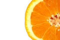 Orange. Closeup of half of an orange, isolated on white Royalty Free Stock Photography
