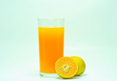 Orange. In glass on a white background stock photo