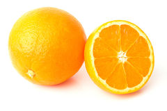 Orange. Two white isolated background Royalty Free Stock Photography