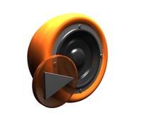 orange 3d au-dessus de blanc stéréo de rétro haut-parleur Photo libre de droits
