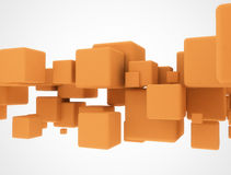 Orange 3d cubes Stock Image