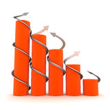 Orange 3D graph with twisted arrows. On white background Royalty Free Stock Images