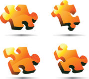 Orange 3D Vector Puzzle. With shadows vector illustration