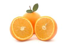 Orange with two halves Stock Image