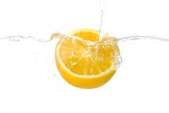 Orange. Fresh orange in water,isolated background Stock Image