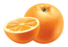 Orange. Detailed vector illustration. With drops of juice Stock Photo