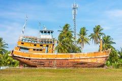 Orange abandoned fishing boat ruin in Phang Nga, Thailand Royalty Free Stock Photos