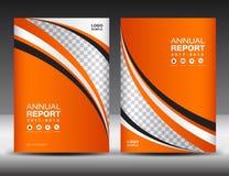 Orange Abdeckung Schablone, Abdeckungsjahresbericht, Abdeckungsdesign stock abbildung