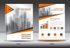Orange Abdeckungs-Jahresberichtbroschüren-Fliegerschablone kreativ lizenzfreie abbildung