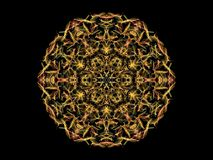 Orange abstarct flame mandala flower, ornamental floral round pa. Ttern on black background royalty free illustration