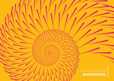 An orange abstract cover design forming a spiral pattern stock illustration