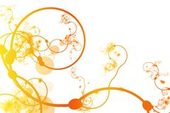 Orange Abstract Curving Line Vines. In White Background Stock Photography