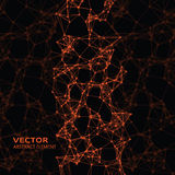 Orange abstract cybernetic particles on black background Royalty Free Stock Photography