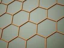 Orange abstract hexagonal cell Stock Photo