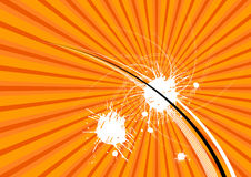 Orange abstract layout. An orange abstract layout with lines and white splatters Stock Photo