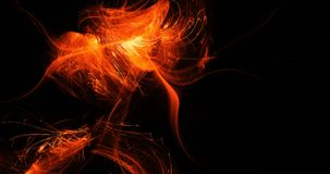 Orange Abstract Lines Curves Particles Background. Abstract Design In Orange Lines Curves Particles On Dark Background Royalty Free Stock Photos